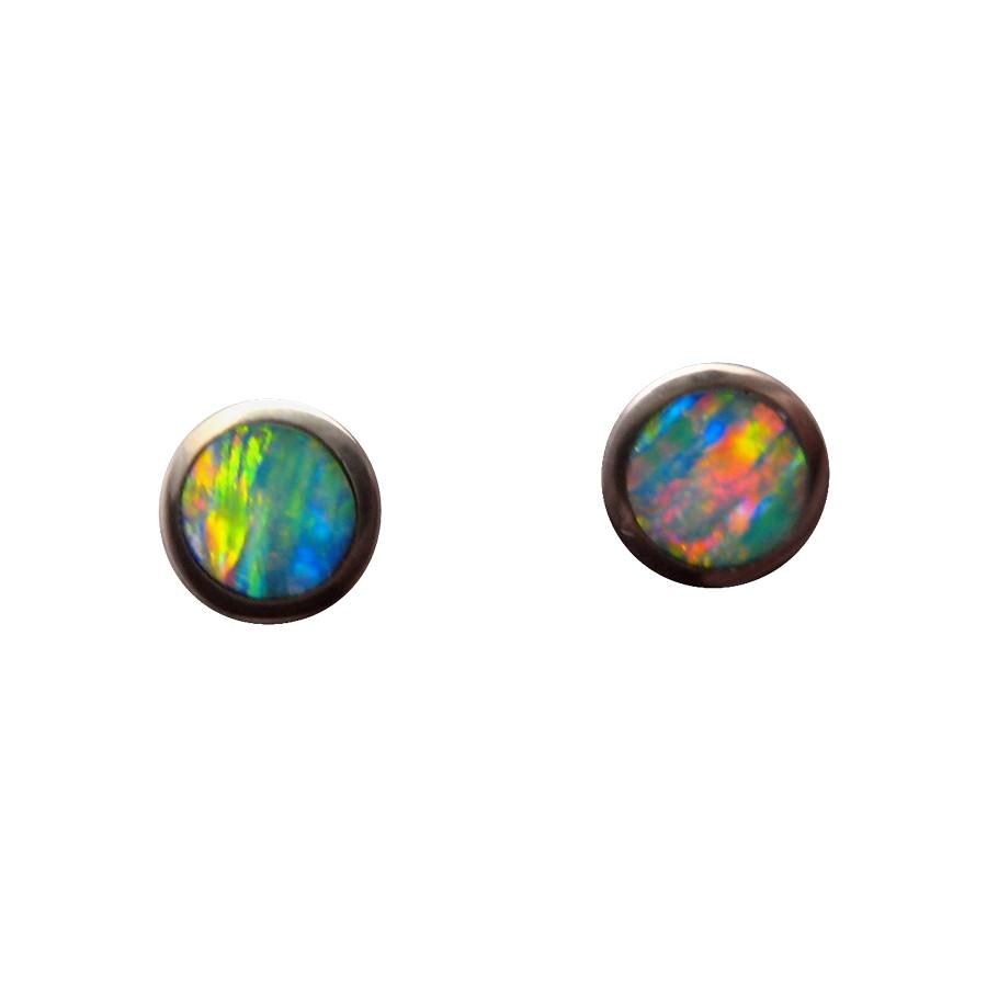 Round Red Blue Opal Stud Earrings 14k Gold