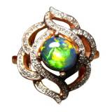 Solid black opal ring with diamonds for sale