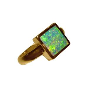 14k gold ring with one square opal bright colors