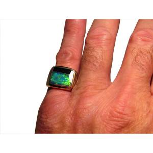 Quality mens opal ring 14k gold