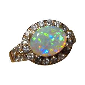 Opal Ring Diamonds Gold 14k Green Crystal