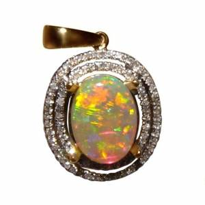 2 Carat oval Dark Crystal Opal pendant with 90 diamonds
