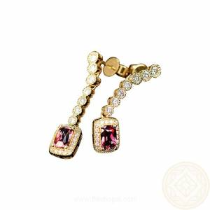 Pink Tourmaline earrings yellow gold dangling drop