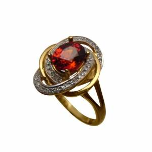 Orange Spessartite multi diamonds fancy ring