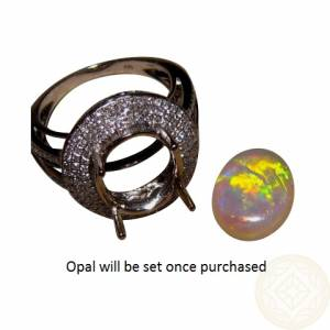 Big Opal Diamond Gem Rings Jewelry