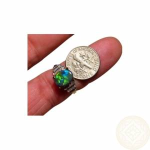 Green Gemstones Black Opal Rings Jewelry
