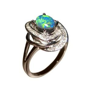 Solid 14k gold ring with black opal and diamonds