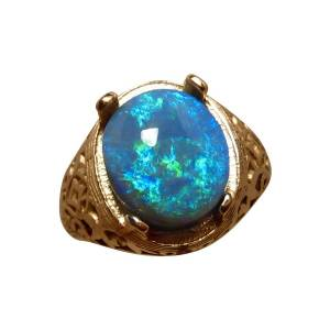 14k gold detailed mens ring with oval black opal