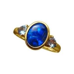 Natural blue opal ring with topaz for sale