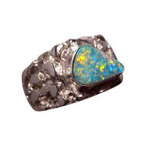 Sterling Silver Textured Ring with one Opal