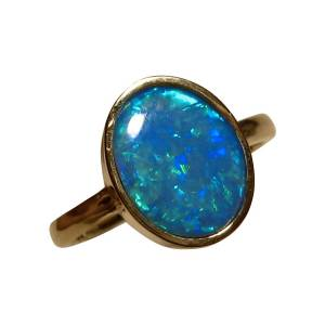 Solitaire Blue Opal Ring 14k Gold