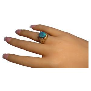 Black opal ring for men in 14k gold