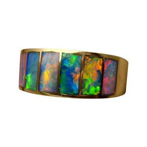 Mens opal inlay ring in 14k gold