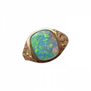 Mens Square Opal Ring 14k Gold