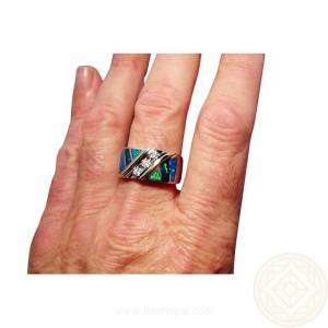 Quality Blue Green opal and diamond ring for men