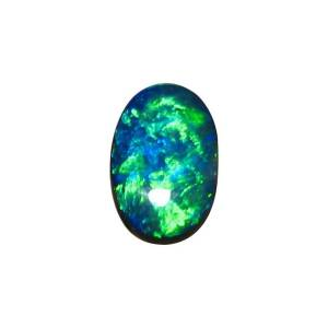 Blue and green black opal stone
