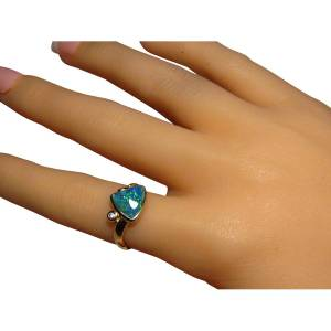Blue Opal Ring Single Diamond 14k Gold