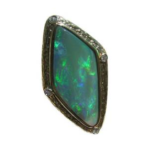 Genuine Australian opal diamond ring for sale