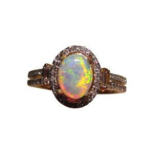 Crystal Opal Ring Diamonds 14k Gold 6433