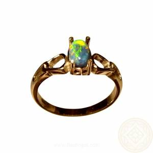 Petite black opal ring in 14k Gold