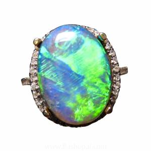 Black opal ring with diamonds for sale
