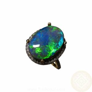 Big Australian Black Opal Rings Jewelry