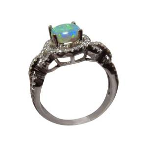 Solid 14k gold ring with Australian opal and diamonds