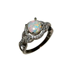 14k gold ring with opal and diamonds