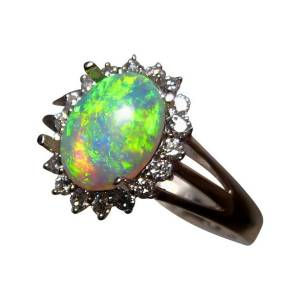 Real opal and diamond ring for sale