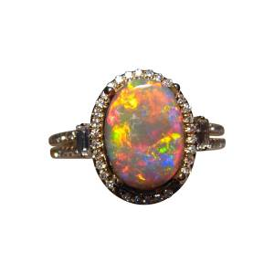 Red black opal ring with the wow factor