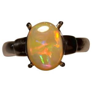 Semi black opal ring in 925 silver