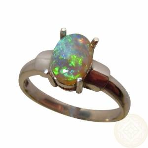 Emerald Green Semi Black Opal Silver Ring