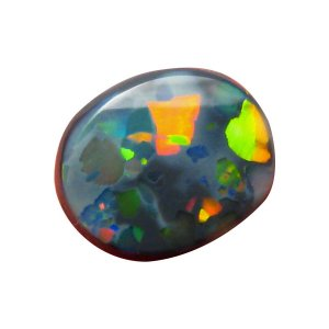 Solid black opal stone harlequin oval