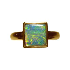 Opal ring in 14k gold for women