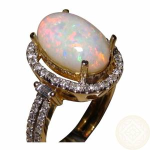 Natural white opal and diamond ring