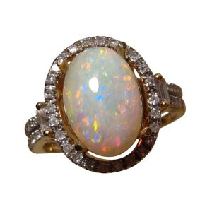 White opal ring with diamonds