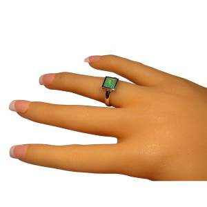 Womens opal ring square stone